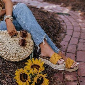 Yellow Braided One Band Platform Slip On Sandal